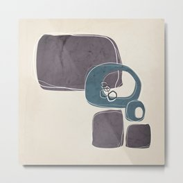 Retro Abstract Design in Teal and Aubergine Metal Print