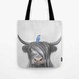 Scottish Cow & Blue Bird Tote Bag