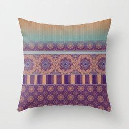 Purple Teal Orange Boho Mandala Tile Ombre Mixed Pattern Throw Pillow