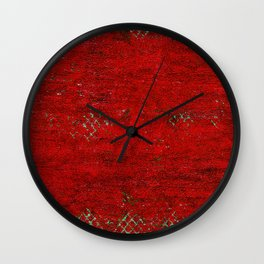 V17 Red Traditional Moroccan Carpet Texture. Wall Clock