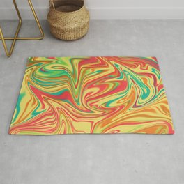 Digital marbling in yellow and orange tones Rug