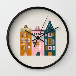 Amsterdam buildings - city architecture Wall Clock