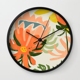 Flowers & Rain, Summer Floral Nature Botanical Painting, Modern Colorful Bohemian Illustration Wall Clock