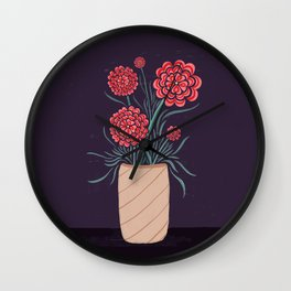 Red Carnations Wall Clock
