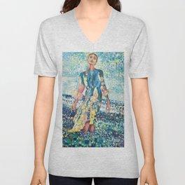Girl on a beach Unisex V-Neck