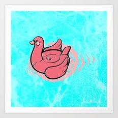 Swan Pool Float Art Print