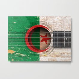 Old Vintage Acoustic Guitar with Algerian Flag Metal Print