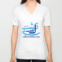 chelsea V-neck T-shirts featuring Chelsea by Sport_Designs