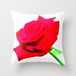 Single red rose flower Throw Pillow