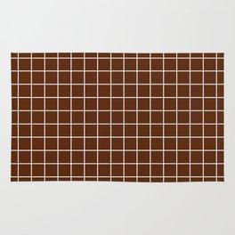 Seal brown - brown color - White Lines Grid Pattern Rug