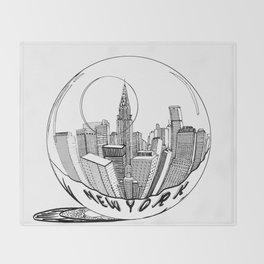 New York in a glass ball . Art . Throw Blanket