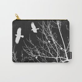 Crows Flying Over Trees Negative Silhouette Carry-All Pouch