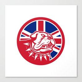 British Bulldog Head Union Jack Flag Icon Canvas Print