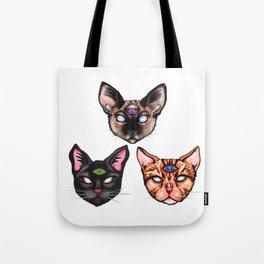 Three Psychic Cats Tote Bag
