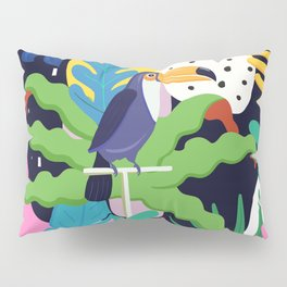 Bold Tropical Jungle Abstraction With Toucan Memphis Style Pillow Sham