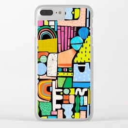 Color Block Collage Clear iPhone Case