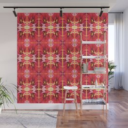 Red Hibiscus Flower Watercolor Portrait Wall Mural
