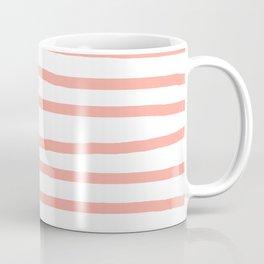 Simply Drawn Stripes Salmon Pink on White Coffee Mug