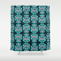 sugar skulls Shower Curtains featuring Sugar Skulls Pattern by Spooky Dooky