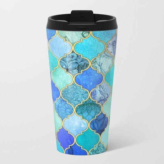 Cobalt Blue, Aqua & Gold Decorative Moroccan Tile Pattern Metal Travel Mug