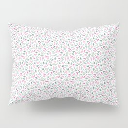 Red and Green Floral Doodles on White. Watercolor Flowers and Leaves. Scandinavian Style Summer Patt Pillow Sham