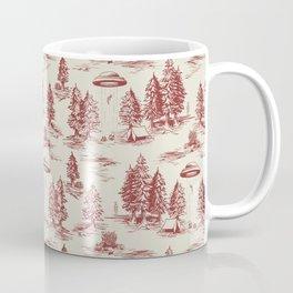 Red Alien Abduction Toile De Jouy Pattern Coffee Mug