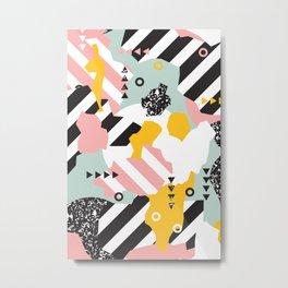 Spliced Geometric Memphis Pattern Geo Stripes Metal Print