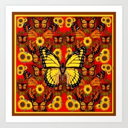 COFFEE BROWN MONARCH BUTTERFLY SUNFLOWERS Art Print