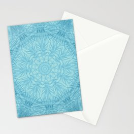 Abstract blue thistle mandala Stationery Cards