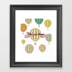 Nursery hot air balloon follow your dreams wall art print Framed Art Print