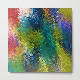 flower pattern abstract background in blue yellow green red Metal Print
