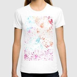 Hand painted pink teal orange watercolor paint splatters T-shirt