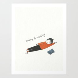 reading and napping Art Print