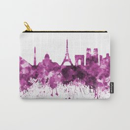 Paris skyline in pink watercolor on white background Carry-All Pouch
