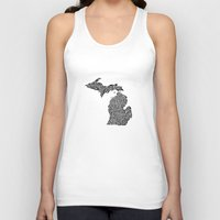 michigan Tank Tops featuring Typographic Michigan by CAPow!