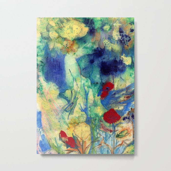 Fairy with Red Flowers Metal Print