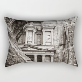 Petra   Black and White Al Khazneh (The Treasury) Incredible Archeological City Jordan Rectangular Pillow