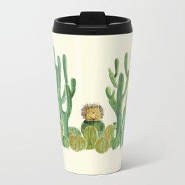 In my happy place - hedgehog meditating in cactus jungle Metal Travel Mug