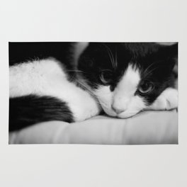 Cat black and white Rug