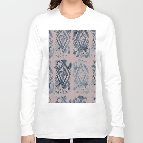 Simply Ikat Ink in Indigo Blue on Clay Pink Long Sleeve T-shirt