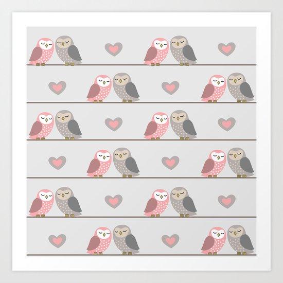 Owls in ♥ Art Print