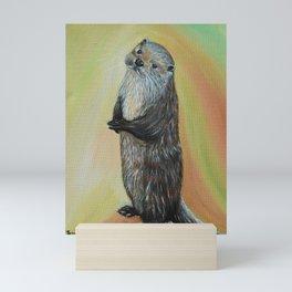 Standing River Otter Painting Mini Art Print