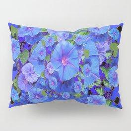 Shades of Blue Diamond Patterns Morning Glories Art Pillow Sham
