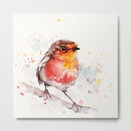 Adventure Awaits (Baby Robin Red Breast) Metal Print