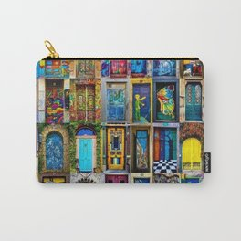 Behind Every Door (Is A Home), Collage Painting of Colorful World Doors by Jeanpaul Ferro Carry-All Pouch