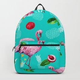 Tropical fruits among flamingos Backpack