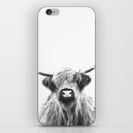 Black and White Highland Cow Portrait iPhone Skin