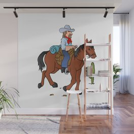 Cowboy on the horse Wall Mural
