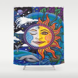Sun and Moon Art by Julie Oakes Shower Curtain