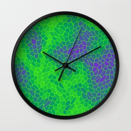 Stained glass texture of snake violet leather with dark heat spots. Wall Clock